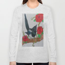 Magpie and Tattoo Roses Long Sleeve T-shirt