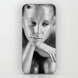 Sad silver girl (close up portrait of a girl with bodypainting) iPhone Skin