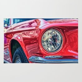 Red 1967 Ford Mustang Rug