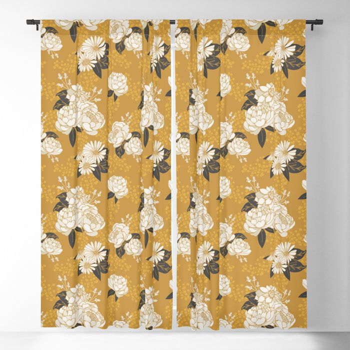Glam Florals - Gold Blackout Curtain