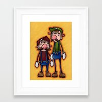 mario bros Framed Art Prints featuring Super Mario Bros. by epicdinosaurs