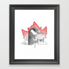 Canada Goose on Maple Leaf (with some red) Framed Art Print