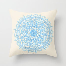 Pale Blue Pencil Pattern - hand drawn lace mandala Throw Pillow