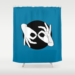 Sign Language (ASL) Interpreter – White on Black 10 Shower Curtain