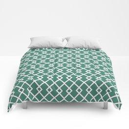 Viridian Green Diamond Pattern Comforters