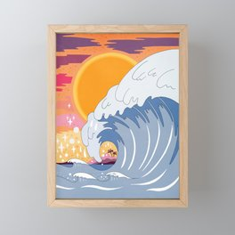 Sunset wave Framed Mini Art Print