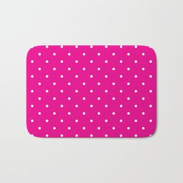 Small White Polka Dots with Pink Background Bath Mat