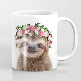 Baby Sloth With Flower Crown, Baby Animals Art Print By Synplus Coffee Mug