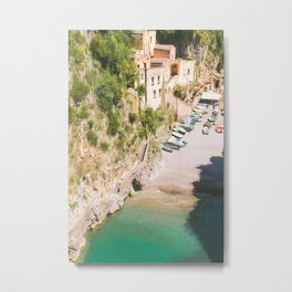 Positano Fishing Village Metal Print