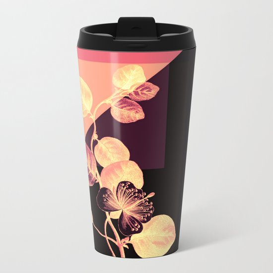 flower on pink,purple and black Metal Travel Mug