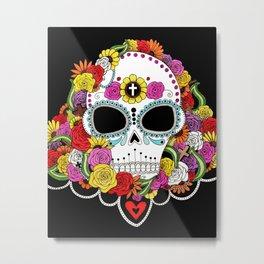 Sugar Skull and Roses Metal Print