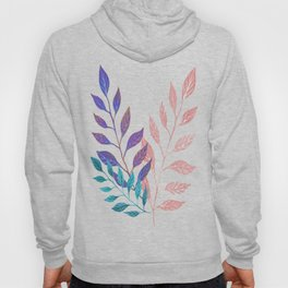 Monochrome Leaf Arrangement (Teal) Hoody