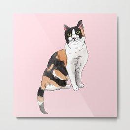 Cat Portrait Calico in Pink Metal Print