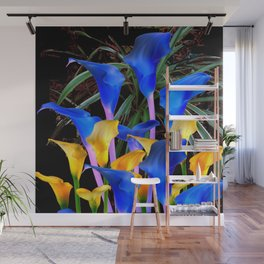 BLACK MODERN ABSTRACT BLUE & GOLD CALLA LILIES Wall Mural