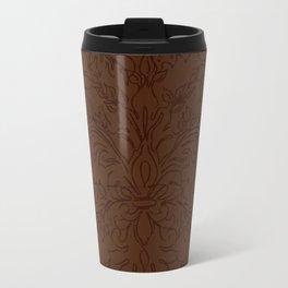 Dark Chocolate Damask Line Work Fleur de Lis Pattern Artwork Travel Mug