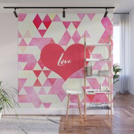 Valentine's Diamond Pattern with Love Heart Wall Mural