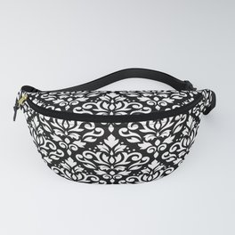Scroll Damask Large Pattern White on Black Fanny Pack