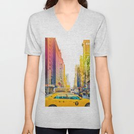 Colors of New York City Downtown Manhattan Unisex V-Neck