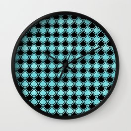 Mermaid Scales Blue Turquoise Teal on Black Wall Clock