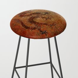 Distressed Chinese Dragon In Octagon Frame Bar Stool