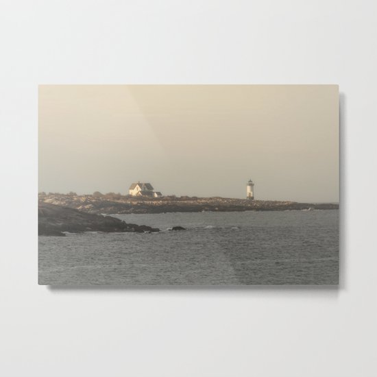 Hazy Straitsmouth lighthouse Metal Print