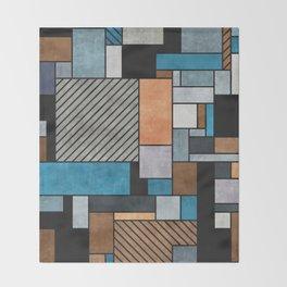 Random Concrete Pattern - Blue, Grey, Brown Throw Blanket
