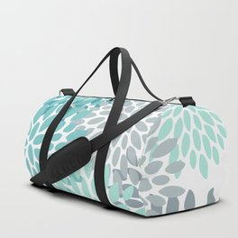 Floral Pattern, Aqua, Teal, Turquoise and Gray Duffle Bag