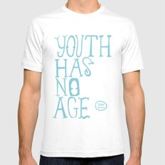 Youth Has No Age (Blue) Mens Fitted Tee MEDIUM White