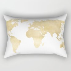 Gold World Map Rectangular Pillow