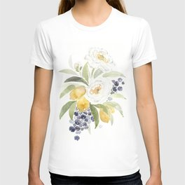 Watercolor Flowers with Blueberries T-shirt