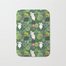 Rabbits in a Succulent Garden Bath Mat