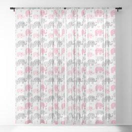 Pink Gray Elephant Baby Girl Nursery Sheer Curtain