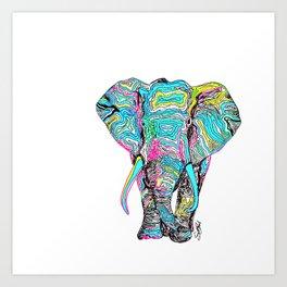 Technicolour Elephant Art Print
