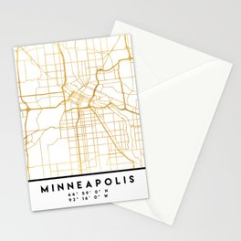 MINNEAPOLIS MINNESOTA CITY STREET MAP ART Stationery Cards