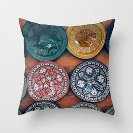 Arabic Moroccan Plates on Wall in Marrakech Throw Pillow
