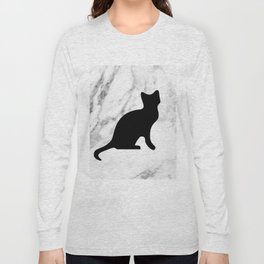 Marble black cat Long Sleeve T-shirt