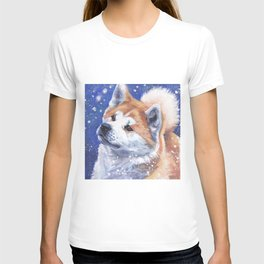 Akita inu Fine Art Dog Painting by L.A.Shepard T-shirt