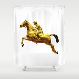 Horse Rider Gold Shower Curtain
