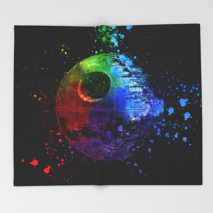 Death Star Abstract Painting - Colorful StarWars Art Throw Blanket