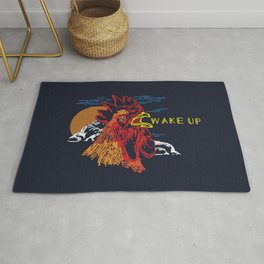 Wake Up Monoline Rooster Graphic Rug