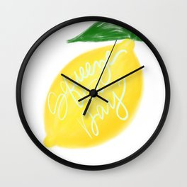 Squeeze the day lemon art Wall Clock