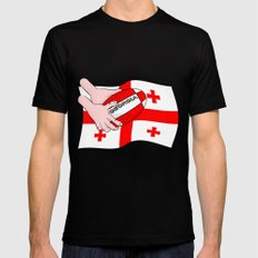 Rugby Georgia Flag Black Mens Fitted Tee X-LARGE