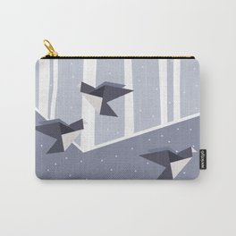 Elegant Origami Birds Abstract Winter Design Carry-All Pouch