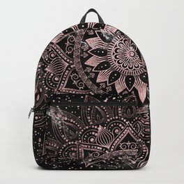 Elegant rose gold mandala dots and marble artwork Backpack