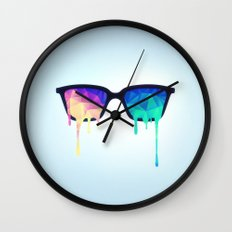 Psychedelic Nerd Glasses with Melting LSD/Trippy Color Triangles Wall Clock