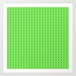 Lime Green Retro Squares Art Print