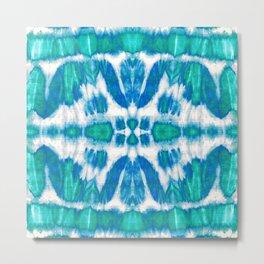 Tie-Dye Twos Aqua Metal Print