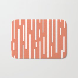 Interrupted Lines Mid-Century Modern Retro Pattern in White and Coral Blush Pink Bath Mat