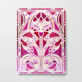 Pink Purple and Red Art Nouveau Batik Pattern Metal Print