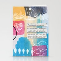 jewish Stationery Cards featuring Jewish Home Blessing by Linda Woods